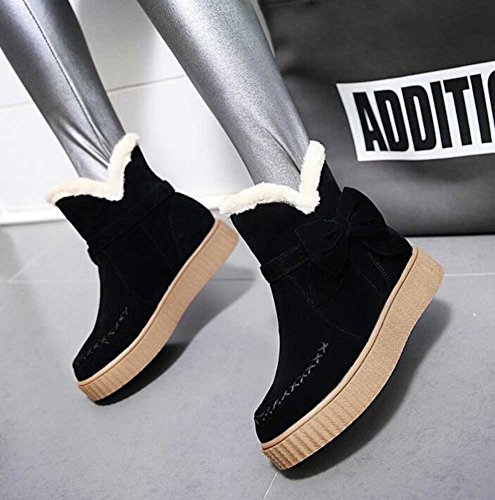 Fur Waterproof Boots Faux CHFSO Snow Bow Women's Platform Black Ankle Warm Heel Low Lined Winter RfORXnBq