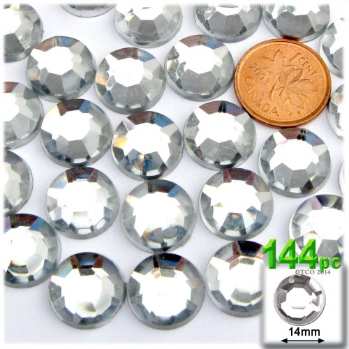 The Crafts Outlet 144-Piece Loose Flatback Acrylic Round Rhinestones, 14mm, Crystal Clear (14 Mm Round Crystal)
