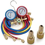 digital ac manifold gauge set - ARKSEN R410A R22 R404A Manifold Gauge Set 5FT Colored Hose Auto A/C Repair Maintenance