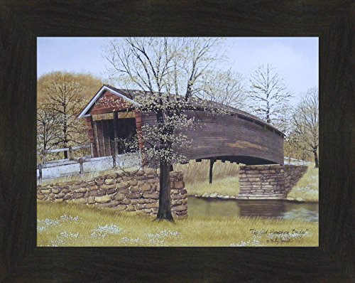 The Old Humpback Bridge by Billy Jacobs 16x20 Weathered Covered Kissing Bridge River Stream Primitive Folk Art Framed Picture (2