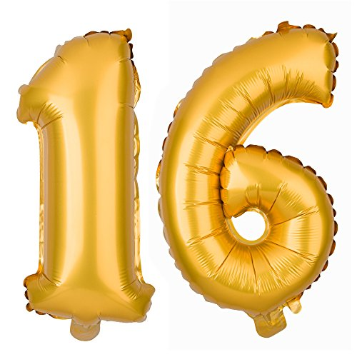 Ella Celebration Large 16 Number Balloons for 16th Birthday Party, Decorations & Party Supplies (40 Inch, -