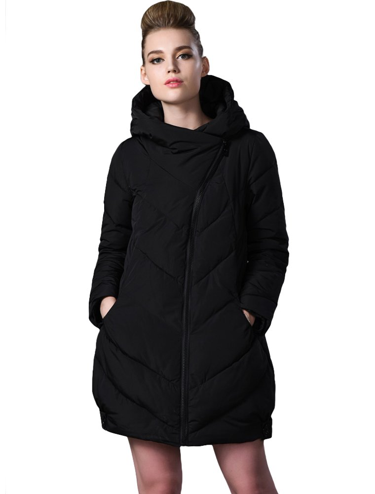 Mordenmiss Women's New Fall Winter Hooded Cotton Jacket Style 7-M-Black