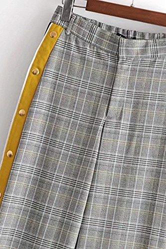 Casuale Tempo Primaverile A Reticolo Donna Grigio Autunno Baggy Dritti Alta Eleganti Moda Accogliente Aperto Button Vita Trousers Libero Pantaloni Larghi Forcella Pantaloni Pantaloni Donne Pantaloni Lunga 78XqZvx