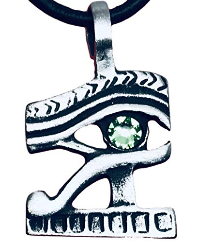 (Trilogy Jewelry Pewter Eye of Horus Ra Egyptian Pendant on Leather w/Swarovski Crystal Light Green August Birthday)