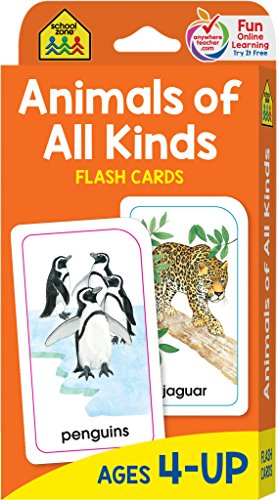 School Zone - Animals of All Kinds Flash Cards - Ages 4 and Up, Word-Picture Recognition, Facts and Information About -