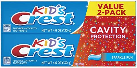 Crest Kid's Cavity Protection Toothpaste for Kids (children and toddlers 2+), Sparkle Fun Flavor, 4.6 ounces, Pack of 2