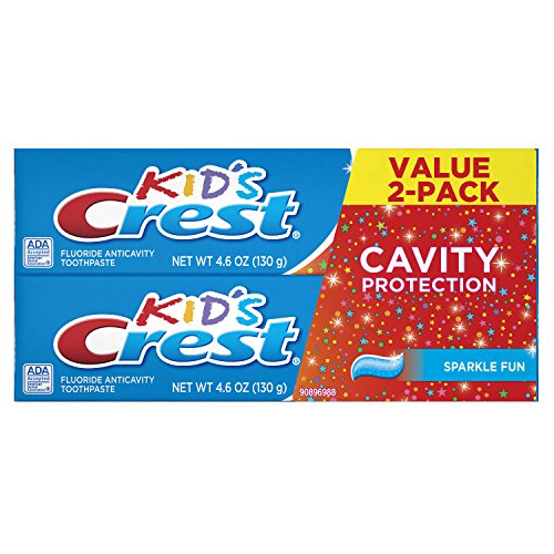 (Crest Kid's Cavity Protection Toothpaste for Kids (children and toddlers 2+), Sparkle Fun Flavor, 4.6 ounces, Pack of 2)