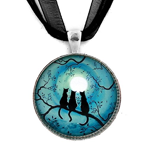 Three Cats Necklace Black Silhouette Teal Blue Moon Handmade Jewelry Art Pendant (Black Ribbon)