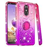 Cfrau Compatible with LG Q Stylus/LG Stylo 4 with Black Stylus,Luxury Liquid Glitter Ring Kickstand Shockproof Quicksand Bling Cute Diamond Girls Women Cover for LG Q Stylus/LG Stylo 4,Pink + Purple