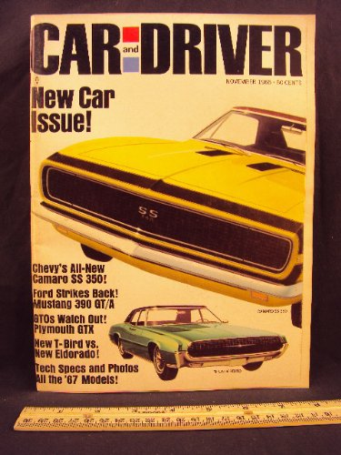 1966 66 November CAR AND DRIVER Magazine (Features: Road Test on Plymouth GTX, Ford Thunderbird vs. Cadillac Eldorado, & Ford Mustang GT / A, + Chevroler Camaro SS 350)