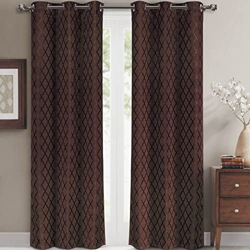 Pair of Two Top Grommet Blackout Jacquard Curtain Panel