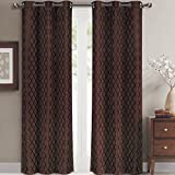 Pair of Two Top Grommet Blackout Jacquard Curtain Panels, Triple-Pass Foam Back Layer, Elegant and Contemporary Willow Blackout Panels, Chocolate, Set of Two 42″ by 63″ Panels (84″ by 63″ Pair) For Sale