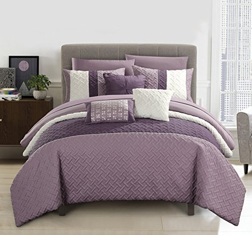Chic Home Osnat 10 Piece Comforter Set Color Block Quilted Embroidered Design Bed in a Bag Bedding - Sheets Decorative Pillows Shams Included King Plum