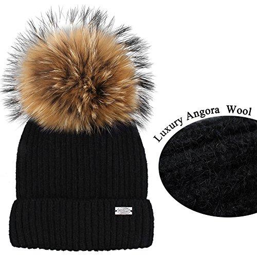 Angora Hat (Winter Knit Pom Pom Hat - Angora Wool Parent Child Beanie For Women Kids Toddler FURTALK Original (Adult Black))