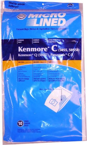20 Kenmore Style C & Style Q 5055 50557 50558 Micro Lined Canister Vacuum Bags. Also Fits Panasonic C-5, C-18 by DVC (Basic pack)