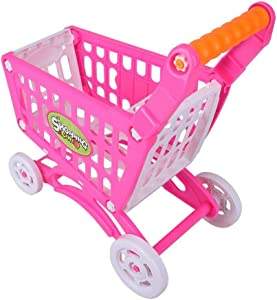 Kids Shopping Cart Precious Toys Kids Toddlers Pretend Role Play Food Fruits Playing Game with Groceries(Rosy Red)