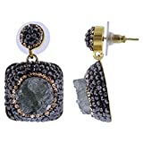 Gem Avenue 925 Sterling Silver Druzy Stone with Black Gold Color Crystal accents Post Back Drop Earrings