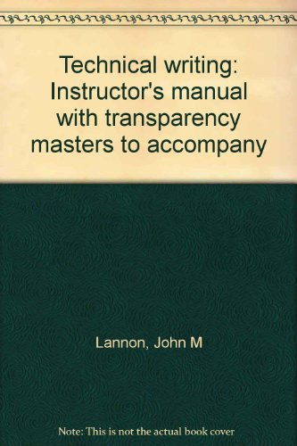 Technical writing: Instructor's manual with transparency masters to accompany