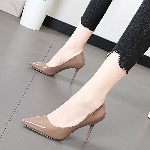 Xue Qiqi Punta pintada de cuero elegante y versátil carrera de luz solo zapatos pie bien con la mujer alta-heel shoes Gris