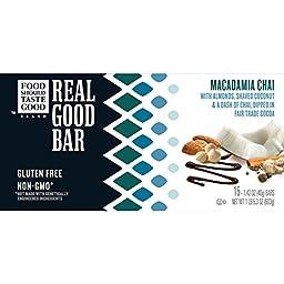 Food Should Taste Good, Real Good Bar, Gluten Free, Macadamia Chai, 15 Count