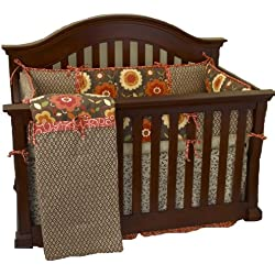 Cotton Tale Designs Peggy Sue Boy's Crib Bedding 4 Piece Set, Coral/Brown