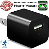 #10: Night Vision Hidden Security Camera USB Wall Charger - Motion Detection Phone Charger Spy Camera with Infrared - Nanny Spy Camera Adapter 1080 Full HD – Support Up To 32GB SD Memory Card