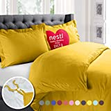 Nestl Bedding Duvet Cover, Protects and Covers your Comforter / Duvet Insert, Luxury 100% Super Soft Microfiber, Full Size, Color Yellow, 3 Piece Duvet Cover Set Includes 2 Pillow Shams