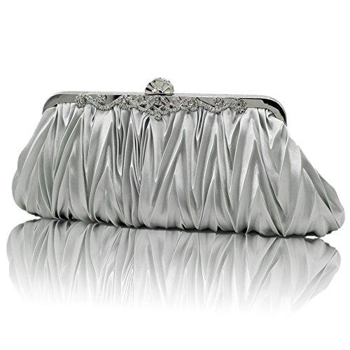 XY Fancy - Cartera de mano para mujer negro negro, plata (plateado) - RH#BB1010-1348-SNB04 plata
