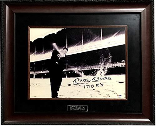 (Mickey Mantle Yankees Autographed Signed 11x14 Photo Rare Ins 1710 KS Framed Auto Psa Loa)