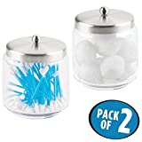 glass jars for qtips - mDesign Bathroom Vanity Glass Storage Organizer Canister Jars for Q tips, Cotton Swabs, Cotton Rounds, Cotton Balls, Makeup Sponges, Bath Salts - Pack of 2, Medium, Clear/Brushed Stainless Steel