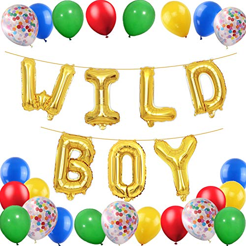 Boy 1st Party Balloon-Gold WILD BOY Foil Balloons with Red Yellow Blue Green Latex Balloon/Confetti Balloons For Boys Birthday Party Baby Shower Blessing Decorations ()