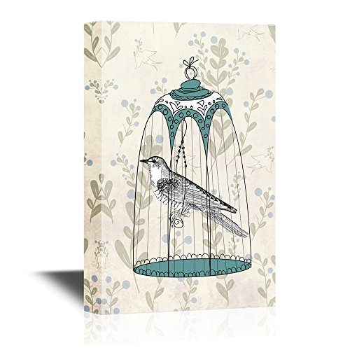 Bird Inside a Beautiful Bird Cage with Floral Pattern Background