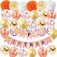 Happy Birthday Foil Balloons Banner - Triangle Bunting Flags,Pom Poms Flowers,Confetti Balloons,Pink and Gold Dot Garland for Kids Girl Birthday Party Decoration