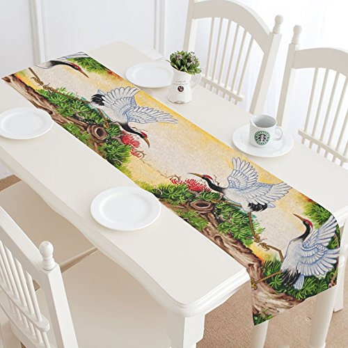 Asian Traditional Table (InterestPrint Chinese Crane Painting Polyester Table Runner Placemat 16 x 72 inch, Traditional Asian Bird Tablecloth for Office Kitchen Dining Wedding Party HomeDecor)