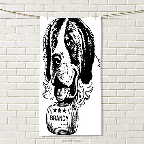 Whisky Hamper - smallbeefly Man Cave Decor Travel Towel Sketch of Saint Bernard Rolling a Keg of Brandy Whiskey Stars Retro 100% Microfiber Black and White Size: W 27.5