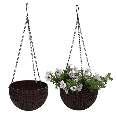 T4U Plastic Round Hanging Planter Basket Garden Flower Plant Hanger with Drainer and Chain - Coffee Brown, Pack of 2