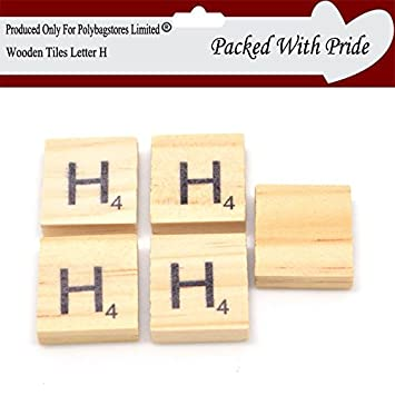 9946409117ba PACK OF 10 LETTER H - WOODEN SCRABBLE TILES WITH BLACK LETTERS - THESE TILES  ARE