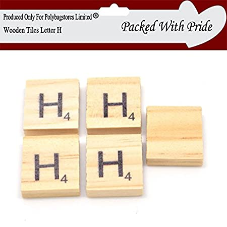 PACK OF 40 LETTER H WOODEN SCRABBLE TILES WITH BLACK LETTERS Delectable Decorative Letter Tiles