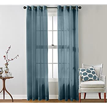 United Curtain Monte Carlo Sheer Window Curtain Panel 59 By 63 Inch Slate Blue
