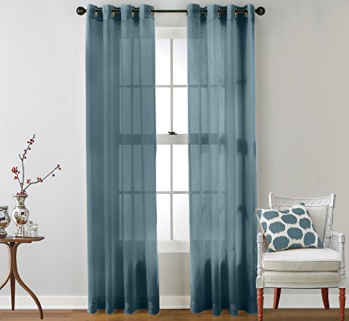 HLC.ME 2 Piece Sheer Window Curtain Grommet Panels (Dusty Blue) - 84