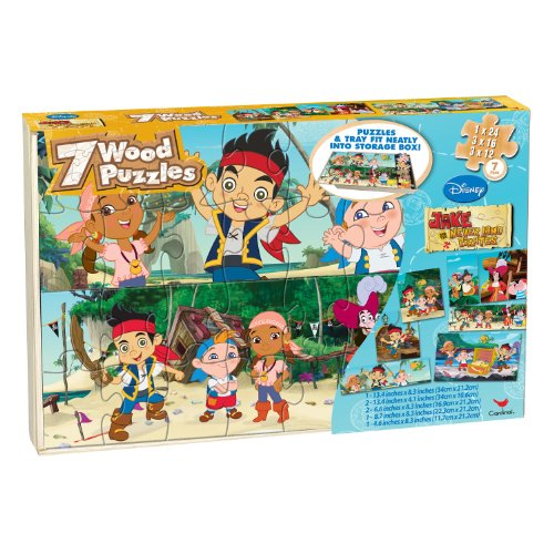 Disney Jake And The Neverland Pirates 7 Wood Puzzles In Wooden Storage Box (styles will vary) ()