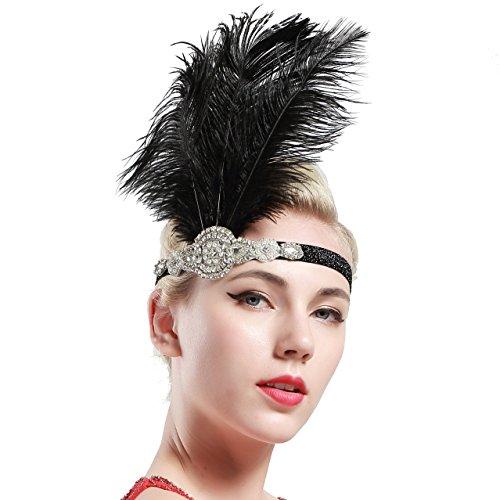 BABEYOND Vintage 1920s Flapper Headband Great Gatsby Headpiece Roaring 20s Feather Headband 1920s Great Gatsby Flapper Hair Accessories (Black)