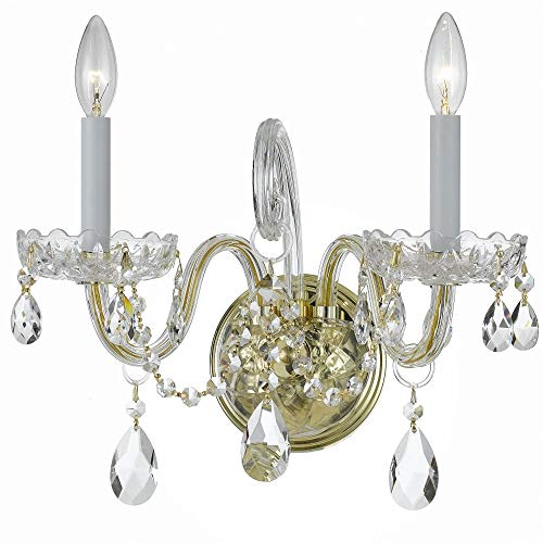 Crystorama 1032-PB-CL-SAQ Transitional Two Light Wall Sconce from Traditional Crystal collection in Brass-Polished/Castfinish,