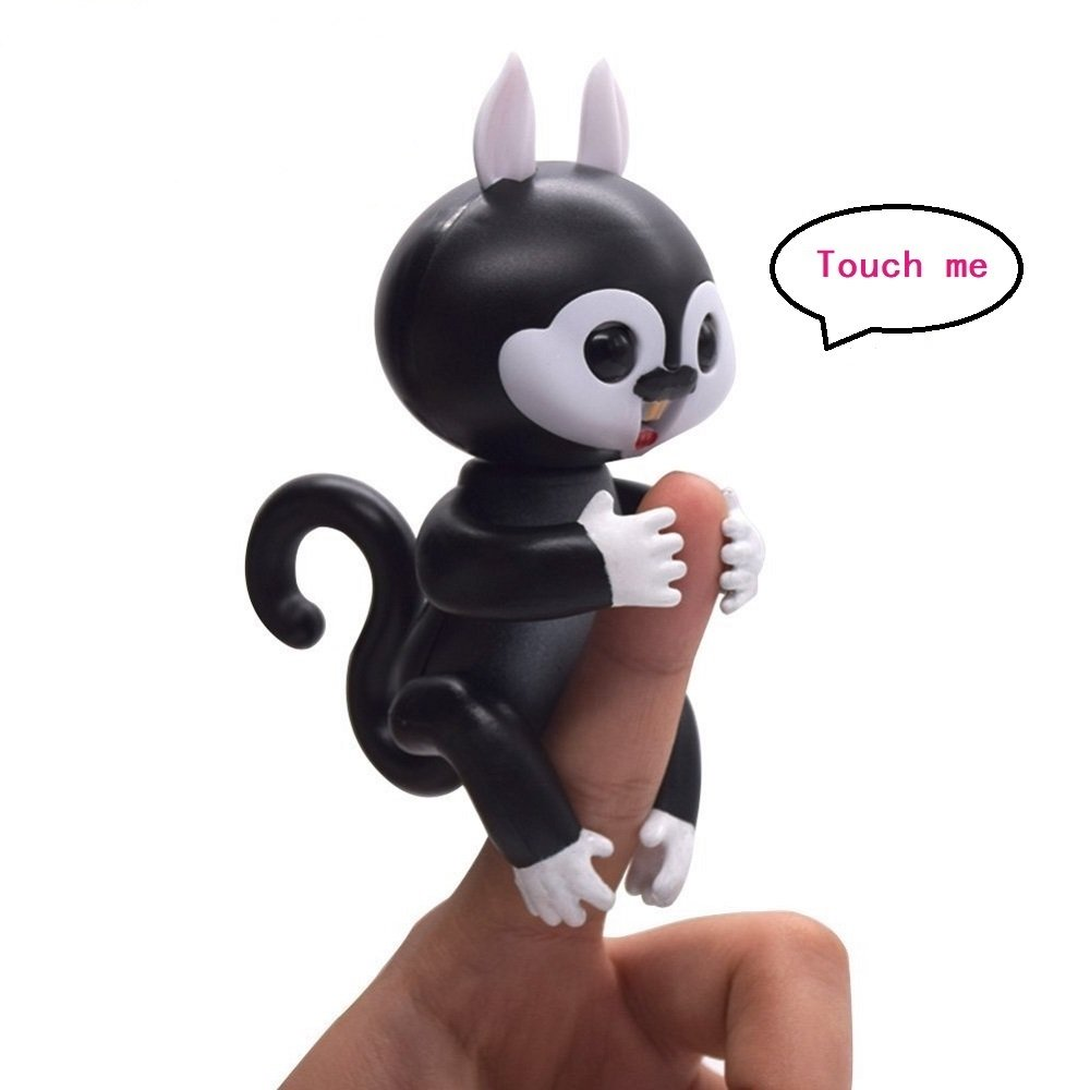 KCHKUI Finger Squirrel Toys, Interactive Baby Children Hand Electronic Finger Squirrels Toys for Ages 3+ (Black)