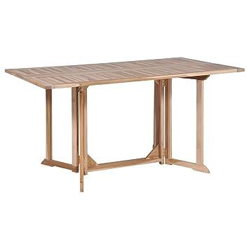 Tidyard Table Pliable de Jardin | Table d\'Extérieur | Table de Salle à  Manger | Table de Cuisine Rectangulaire Bois de Teck Massif 150 x 90 x 75 cm