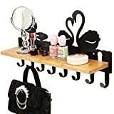 Home living room wall hanging Door hook Ledge Hanger with shelf Bedroom storage rack Door hat clothes storage rack (Color : Black, Size : 40cm9.5cm11.5cm)