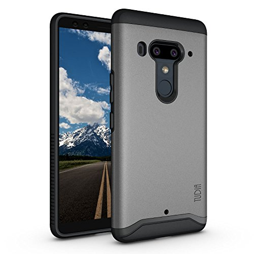 Plus Case/HTC U12 + Case with Heavy Duty Extreme Protection/Rugged but Slim Dual Layer Shock Absorption Case for HTC U12 Plus/HTC U12 + (2018) (Metallic Slate) (Oem Fitted Rubberized Skin)