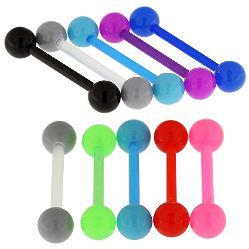 14Gx5/8 (1.6x16MM) Flexible Straight Barbell with 5MM UV Solid Colored Ball Tongue Piercing Rings - 10 Pieces Assorted Color as Show