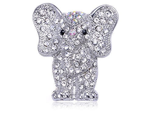 Alilang Silvery Tone Iridescent Clear Crystal Colored Rhinestones Elephant Brooch Pin