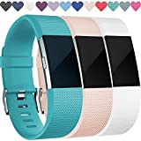 Replacement Bands for Fitbit Charge 2, 3-Pack Fitbit Charge2 Wristbands, Small, Teal, Blush Pink, White